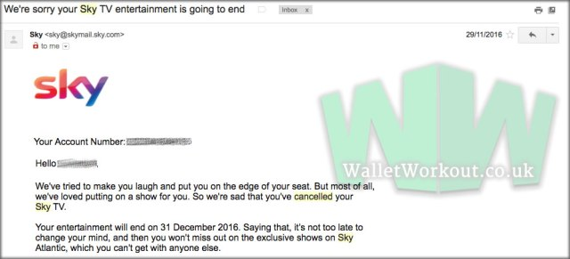 Sky Discount : Cancellation email