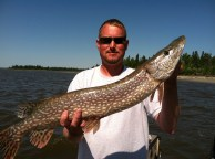 Chris Speicher with a Lac Seul pike