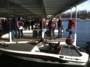 Waiting to test ride new models on Bull Shoals!