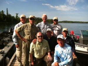 The walleye wisdom fishing team on the dock before leaving Ash Rapids!