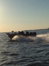 Tom Harrison got this shot of Canadian Jim Lyon's 620 heading for our big walleye spot on Day 2 Lake Erie get together!
