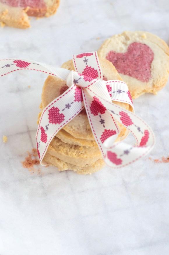 Almond & Rose 'Hidden Heart' Cookies {Gluten-free, Vegan with Raw Option}