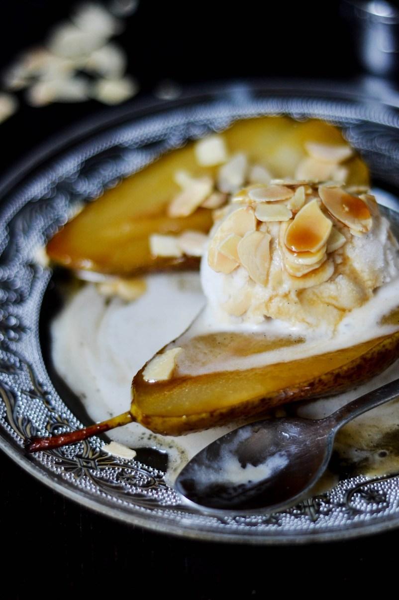 Grilled Pears with Amaretto & Ice Cream {Vegan & GF}