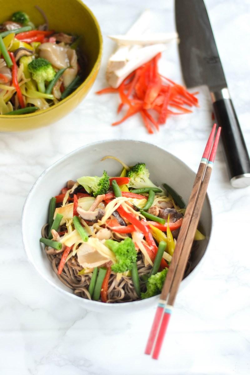Yuki's Vegetable Stir-fried Soba noodles (野菜蕎麦炒め)