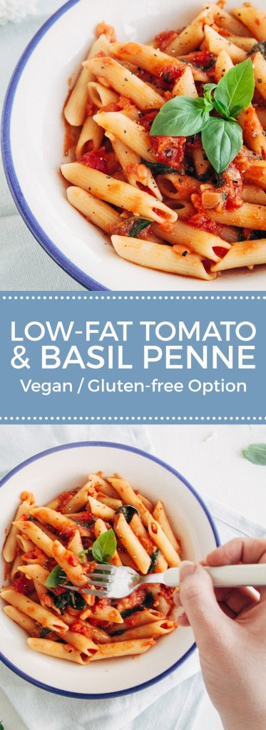 Tomato and Basil Penne Pasta (Vegan, Gluten-free Option, Low-Fat)