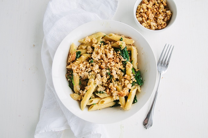 Creamy Spinach Pasta with Cheesy Garlic Crumbs (Vegan)