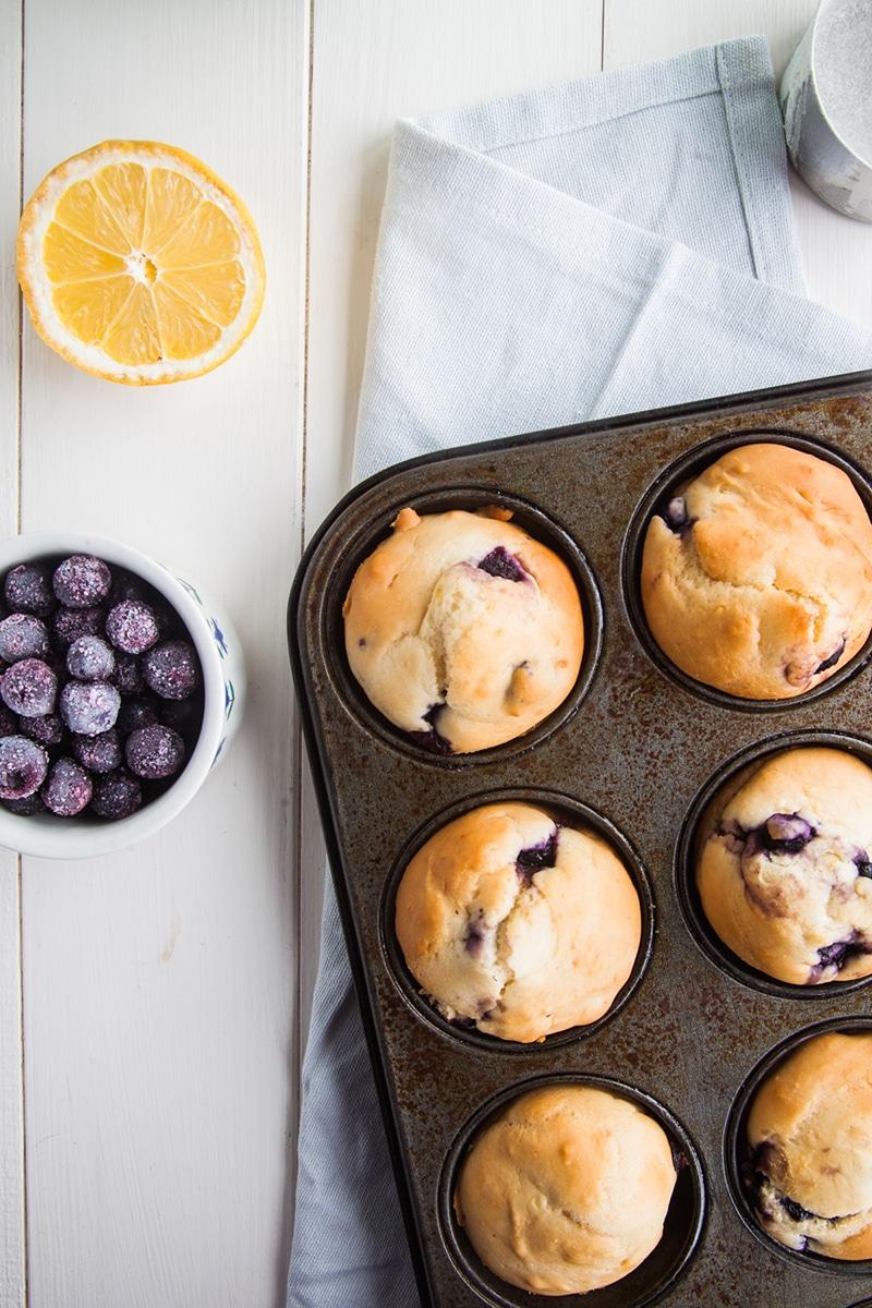 Low Fat Lemon Blueberry Muffins (Vegan)