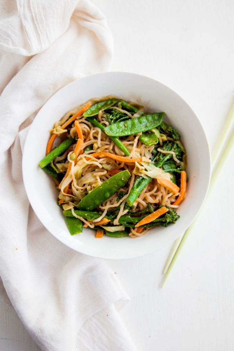 Shirataki Noodles with Almond Butter Sauce (Vegan + Paleo)