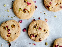 Rose, Pistachio & Olive Oil Shortbread (Vegan)