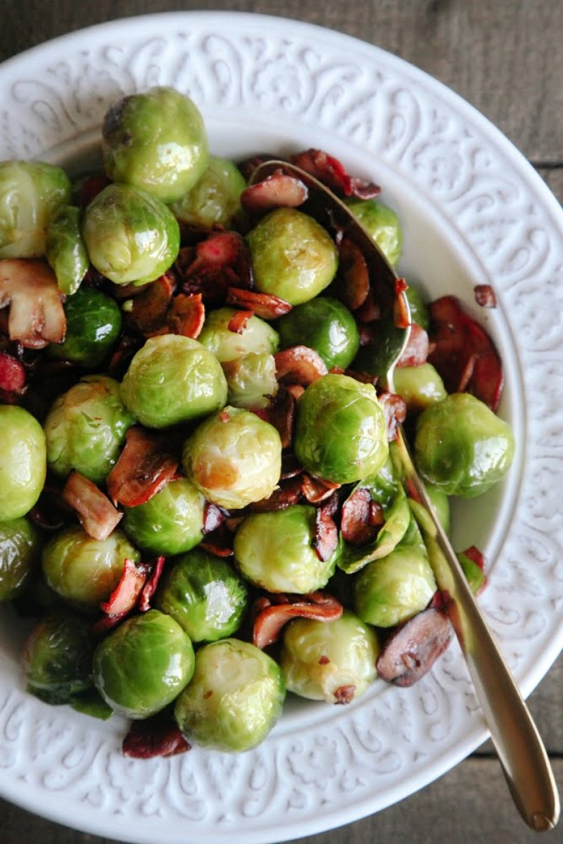 """Brussels Sprouts with Mushroom """"Bacon"""" (Vegan + GF)"""
