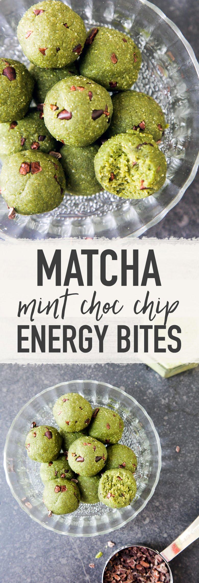 Matcha Mint Chocolate Chip Cookie Dough Bites