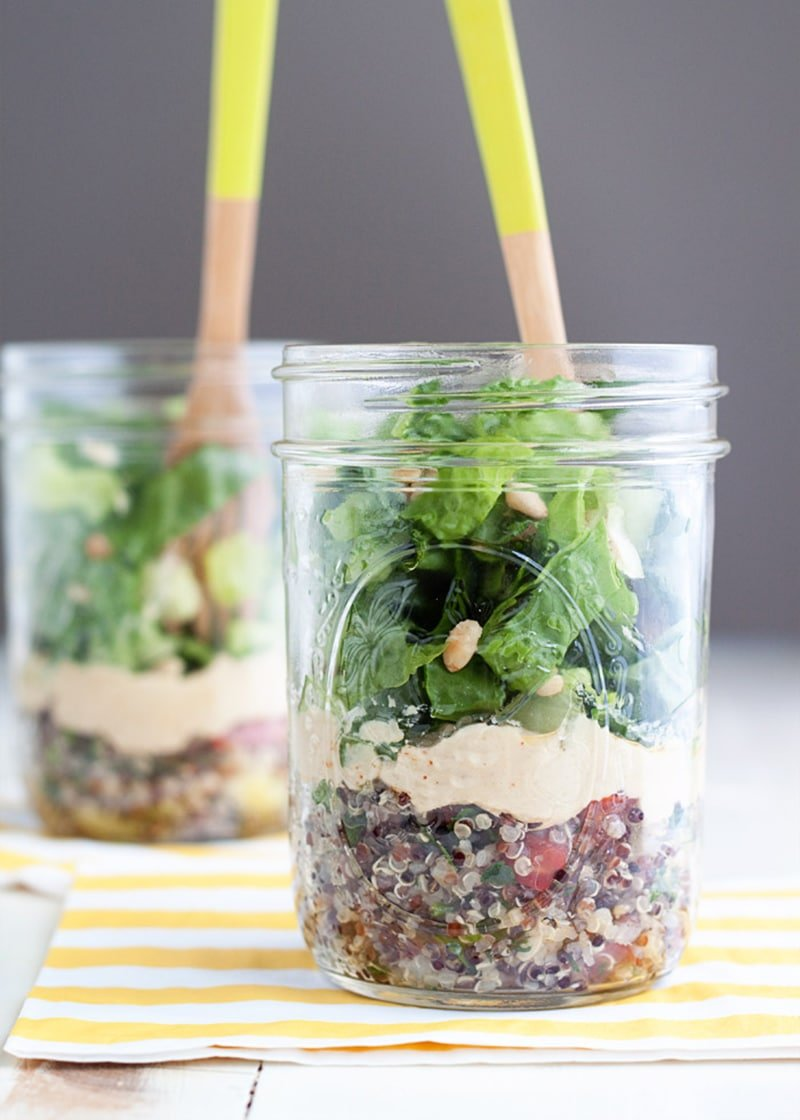 Tabouleh Hummus Mason Jar Salads via kitchentreaty.com