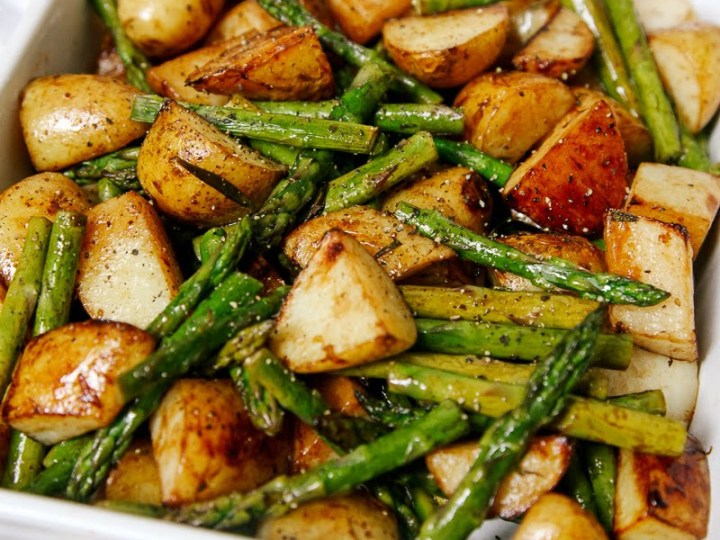 Balsamic Roasted New Potatoes With Asparagus Wallflower Kitchen