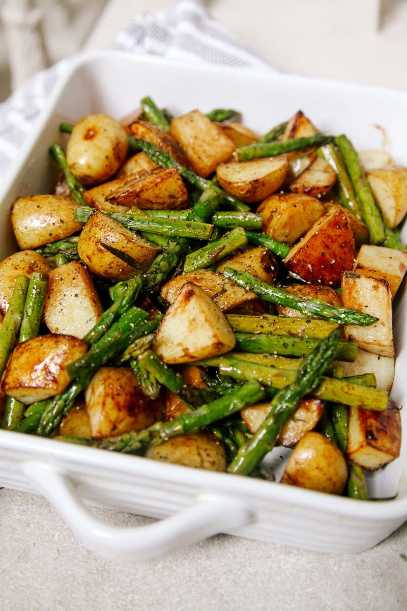 Balsamic Roasted New Potatoes with Asparagus Recipe via Wallflower Kitchen