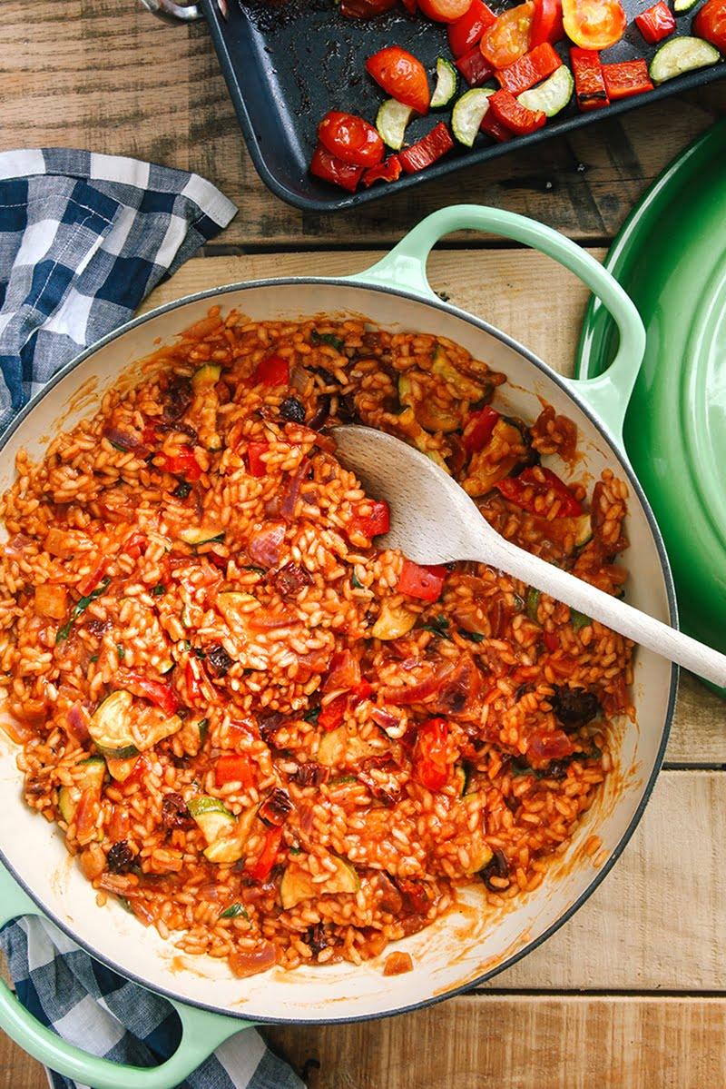 Tomato & Roasted Mediterranean Vegetable Risotto #vegan #vegetarian #glutenfree #dairyfree #dinner #italian