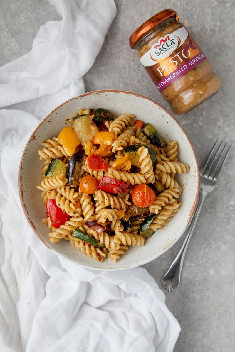 Veggie Pasta with Char-grilled Aubergine Pesto (Vegan + GF)