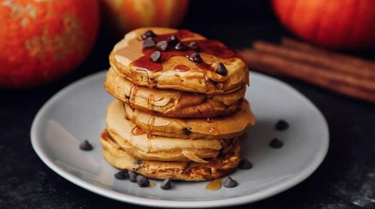 Fluffy Chocolate Chip Pumpkin Pancakes Vegan Wallflower Kitchen
