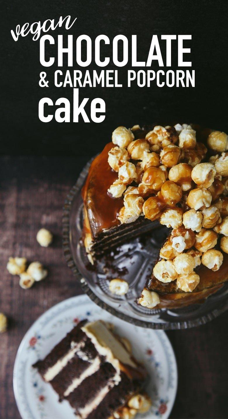 Chocolate Caramel Popcorn Cake #Vegan #Dairyfree