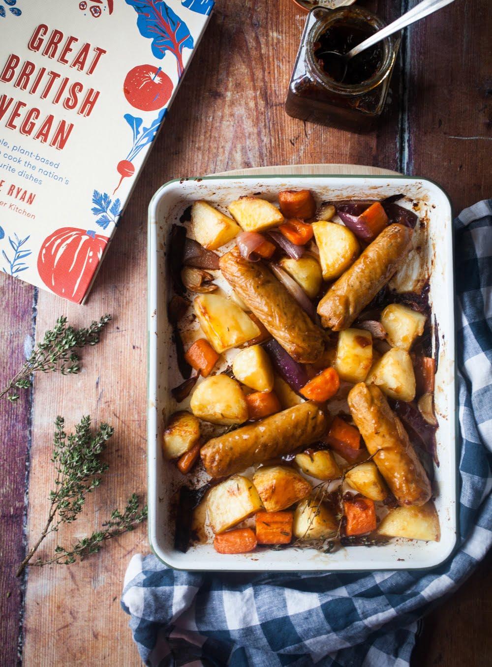 Sticky Sausage & Potato Traybake from Great British Vegan by Aimee Ryan