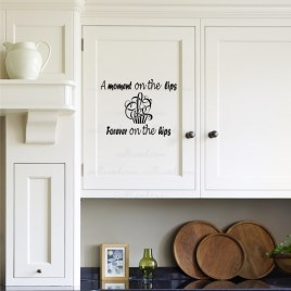 A Moment On The Lips Forever On The Hips Cake Funny Sticker Kitchen Wall Decal