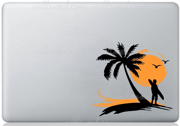palm tree surfer laptop sticker