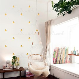 metallic gold triangles polka wall decal
