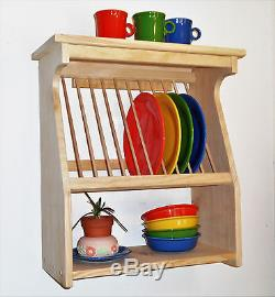 plate rack wood wooden wall mount or counter new