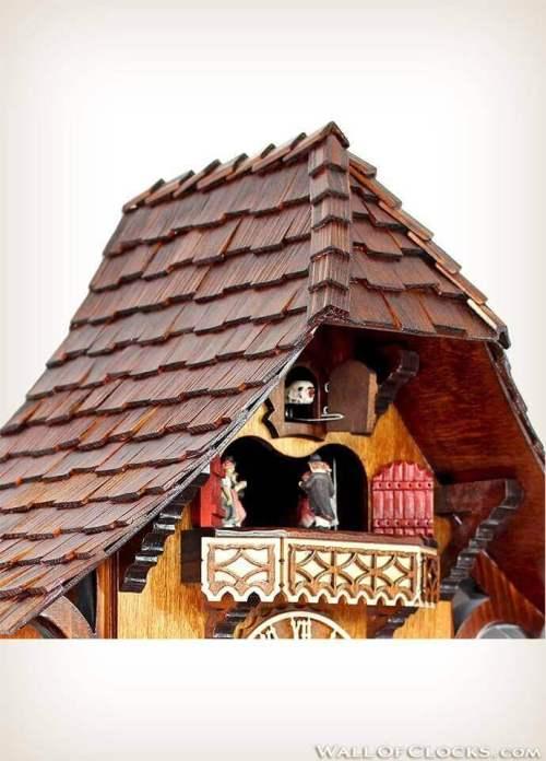 Adolf Herr 446/1 8tmt Busy Woodsman Cuckoo Clock - Zoomed Roof