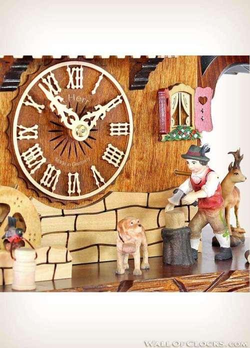 Adolf Herr 446/1 8tmt Busy Woodsman Cuckoo Clock - Zoom View