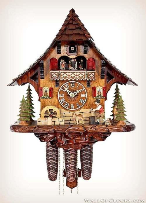 Adolf Herr 446/1 8tmt Busy Woodsman Cuckoo Clock - Front View
