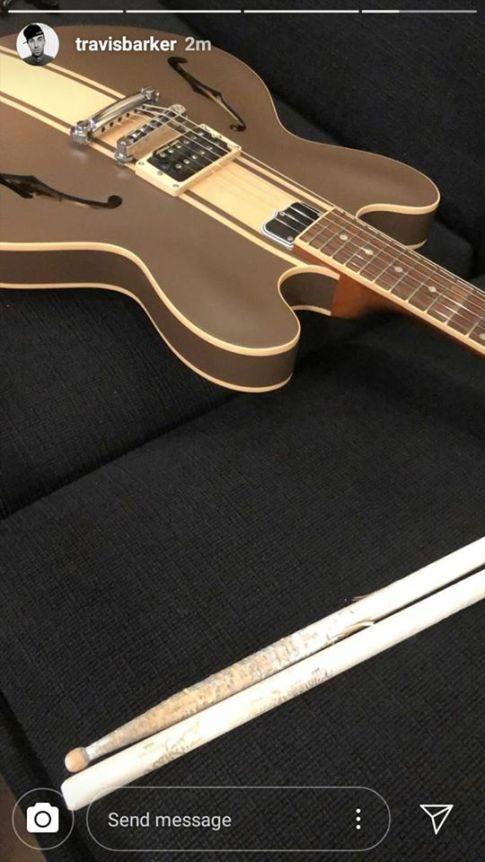 tom delonge guitar on travis barker's instagram