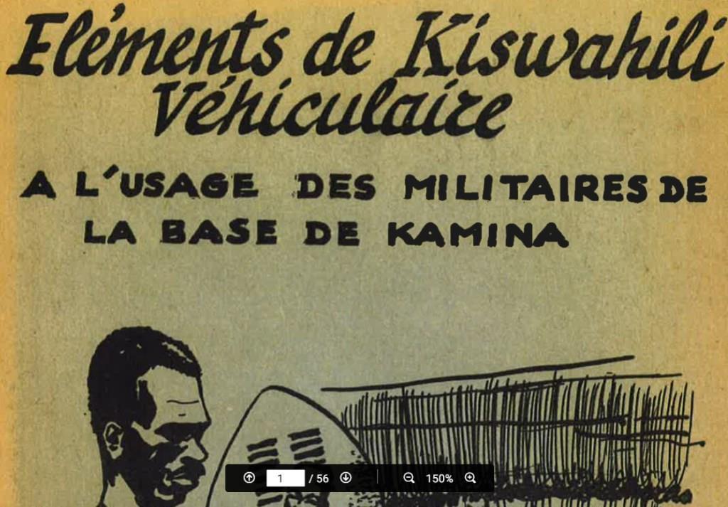 CONGO : Eléments de Kiswahili véhiculaire à l'usage des militaires de la base de Kamina (env. 1952)