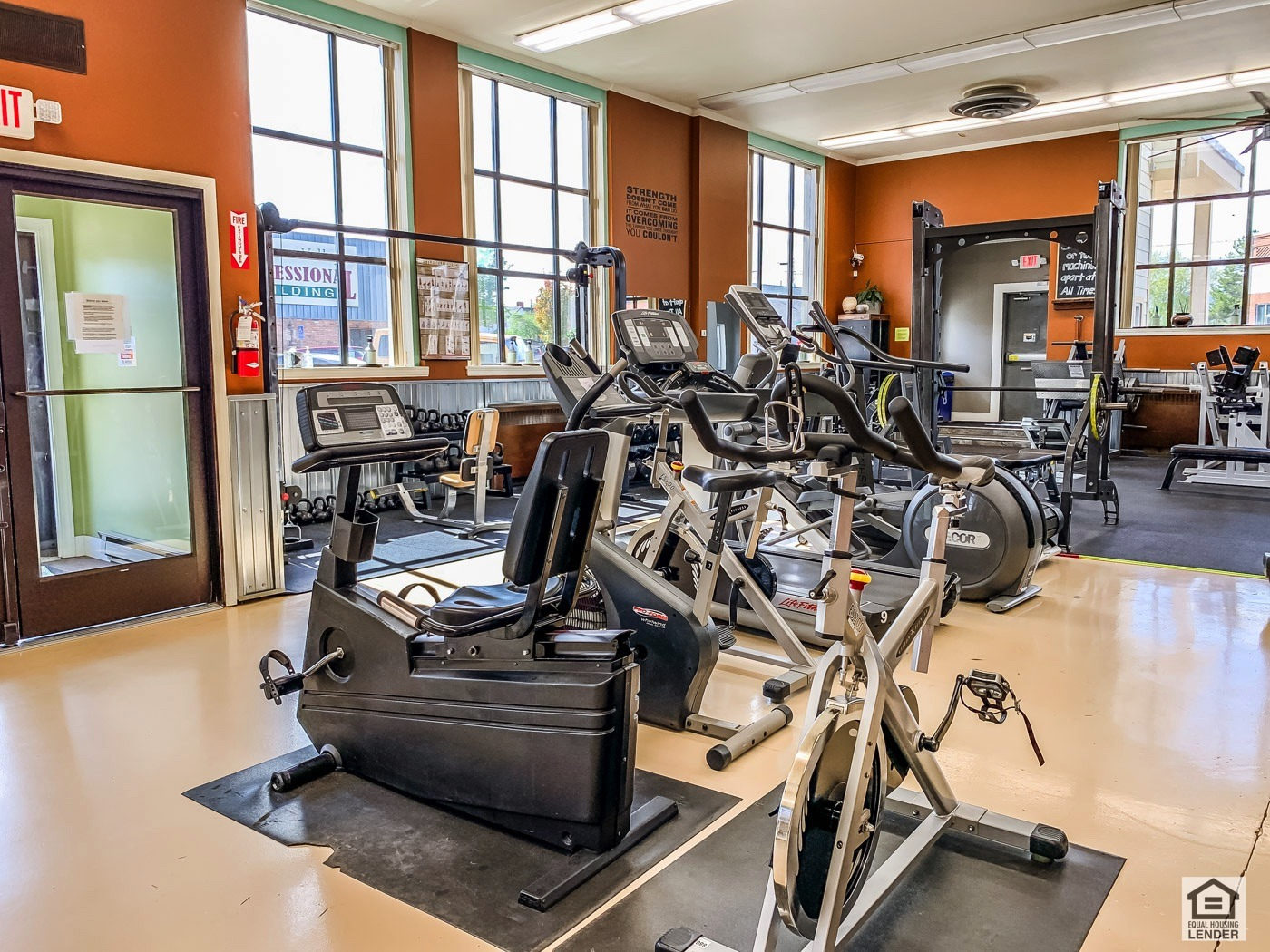 Currently a fitness center business use. Interior is immaculate and qualty and clean.