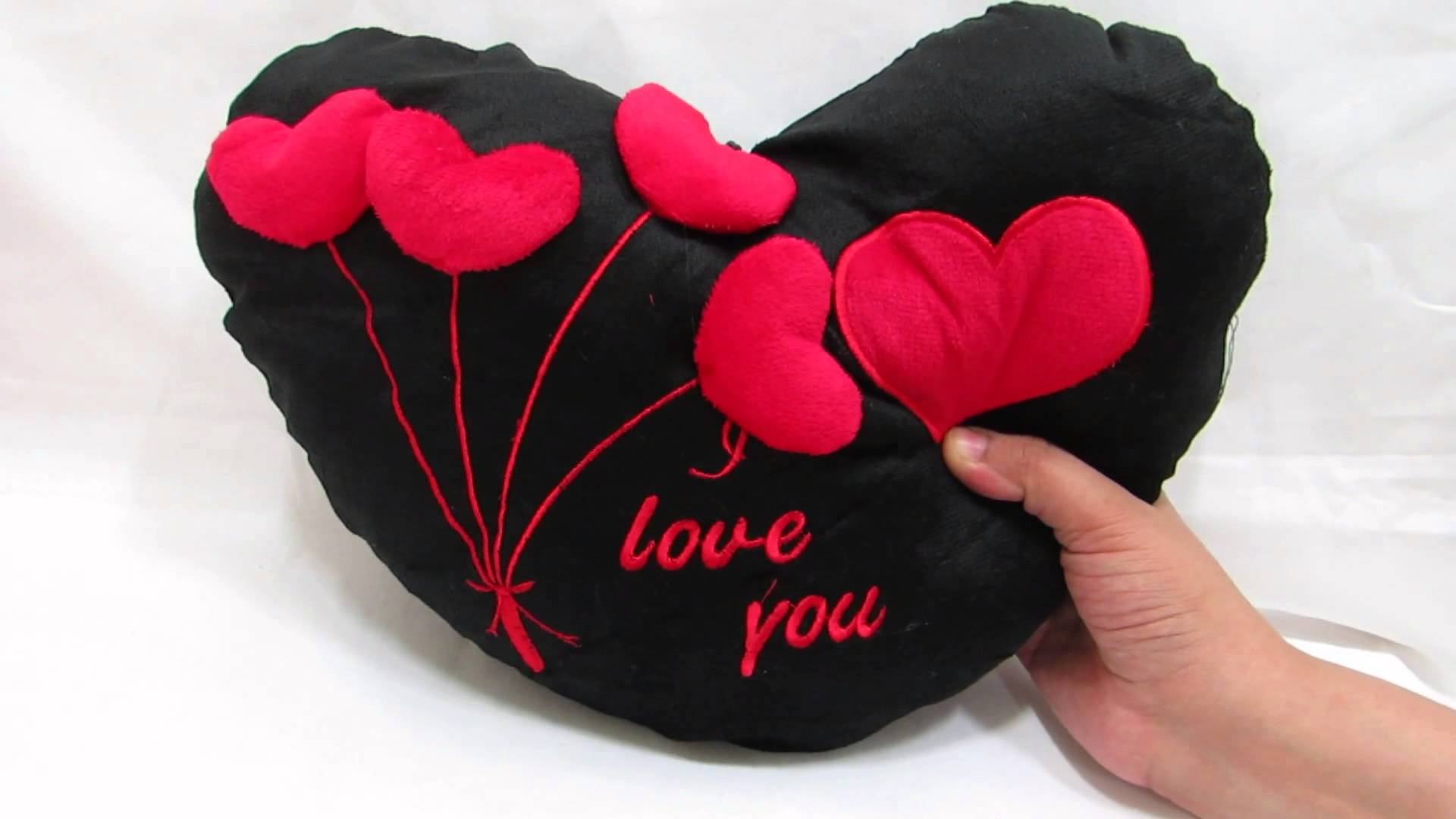 love heart black with 3d hearts pillow