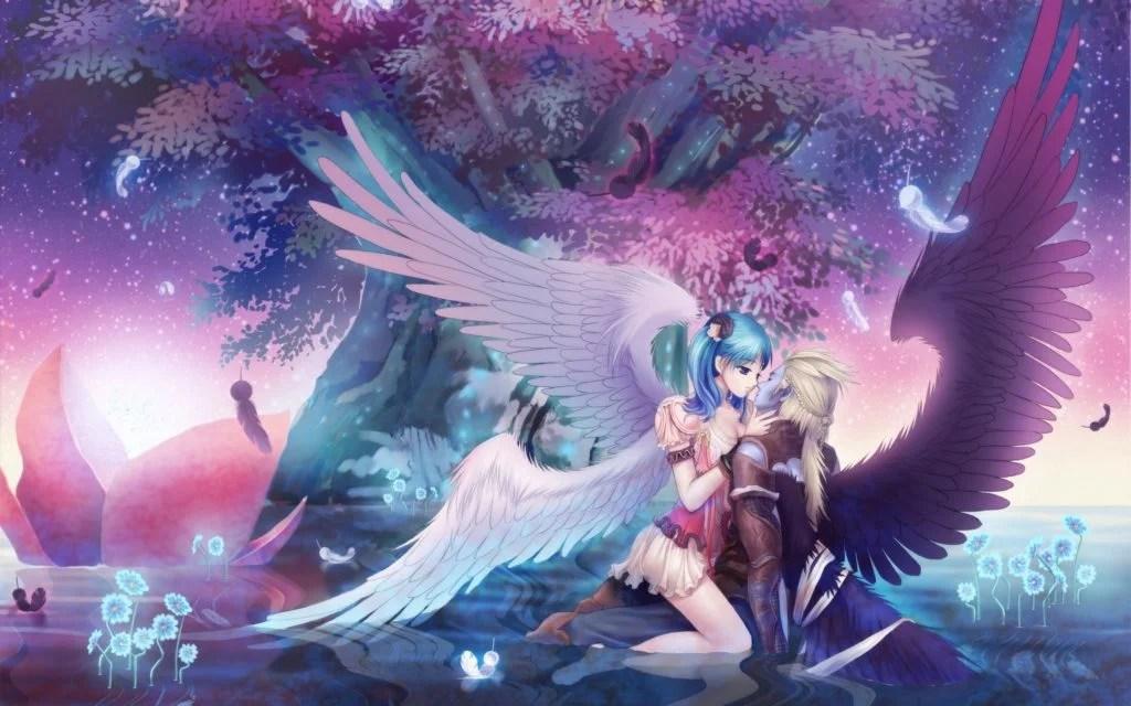 Guy Girl Wings Kiss Classy Anime Music Wallpaper