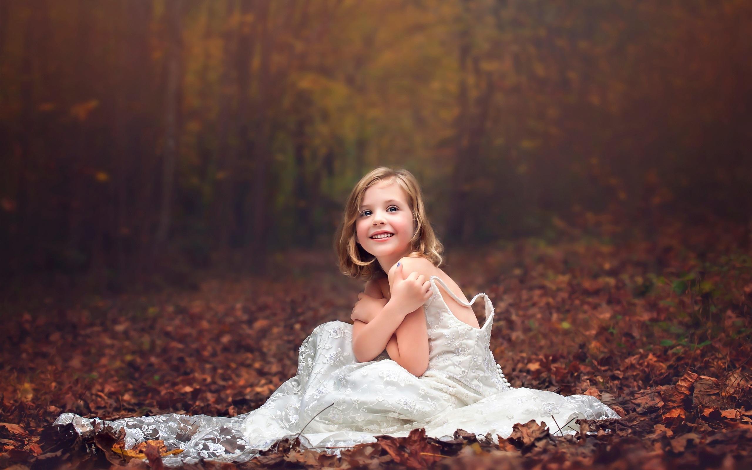 Wedding Dress Little Girl, Forest, Autumn Wallpaper