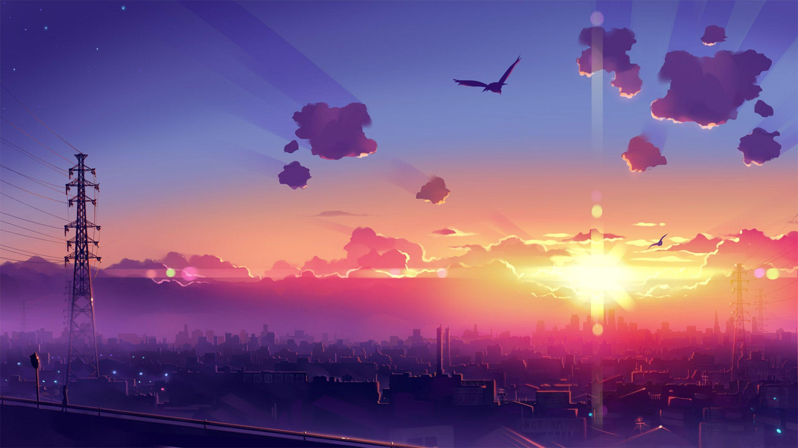You can download the black. Aesthetic Anime Sunset Wallpapers - Wallpaper Cave