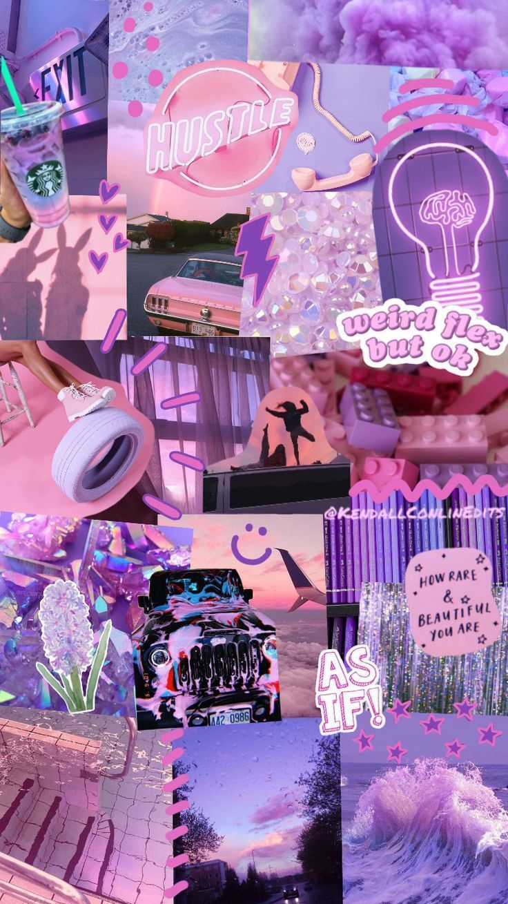 You can also use a desktop. Purple Aesthetic Collage Wallpaper Laptop / Neon Purple ...