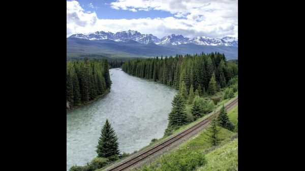 Живые обои Mountain_river_railway_forest_trees_landscape ...