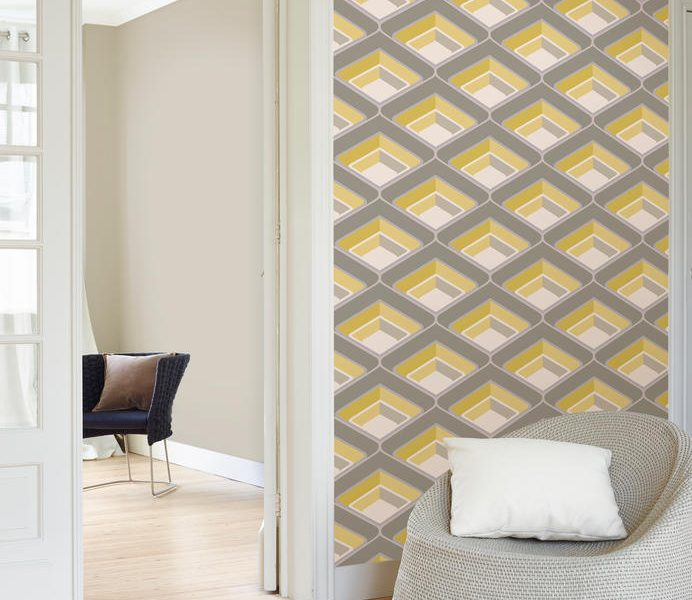 Grey, yellow, and white wallpaper in a 5 star hotel room