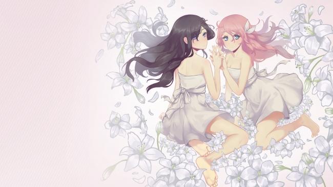 Download 768x1024 Anime Girls, Flowers, White Dress, Pink