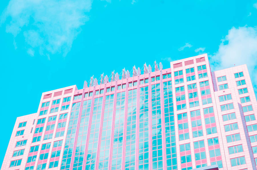 Download hd wallpapers for free on unsplash. Download Aesthetic Pink Building Under Blue Sky Wallpaper ...