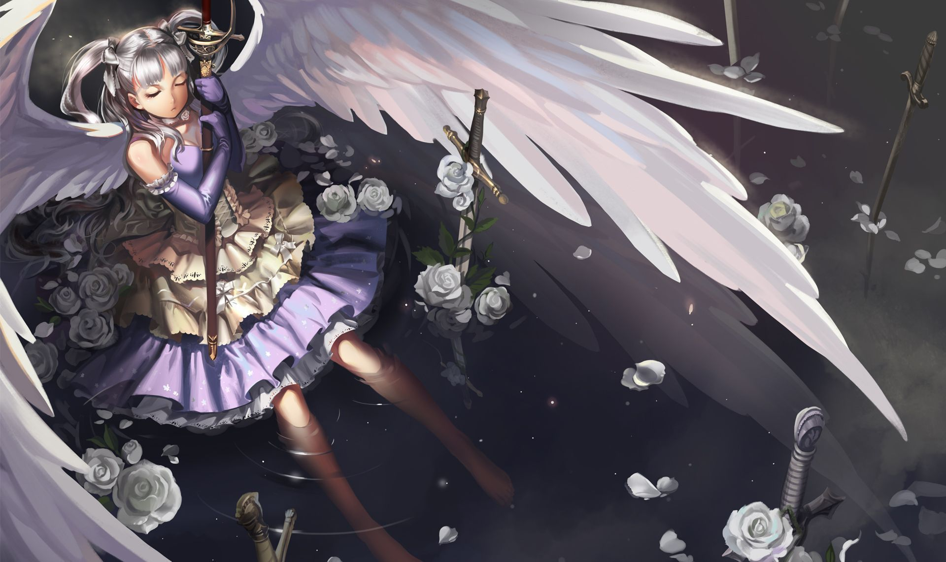 Star or snow on the phone screen and slowly. Anime Angel Wallpapers Backgrounds