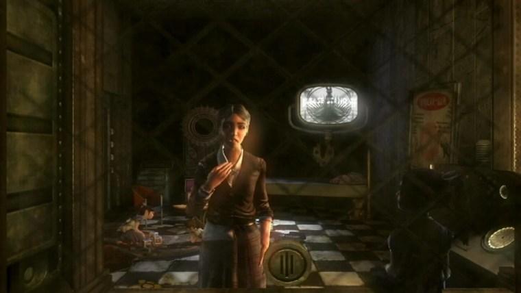 Dr. Brigid Tenenbaum seen through a reinforced window. international female characters video games