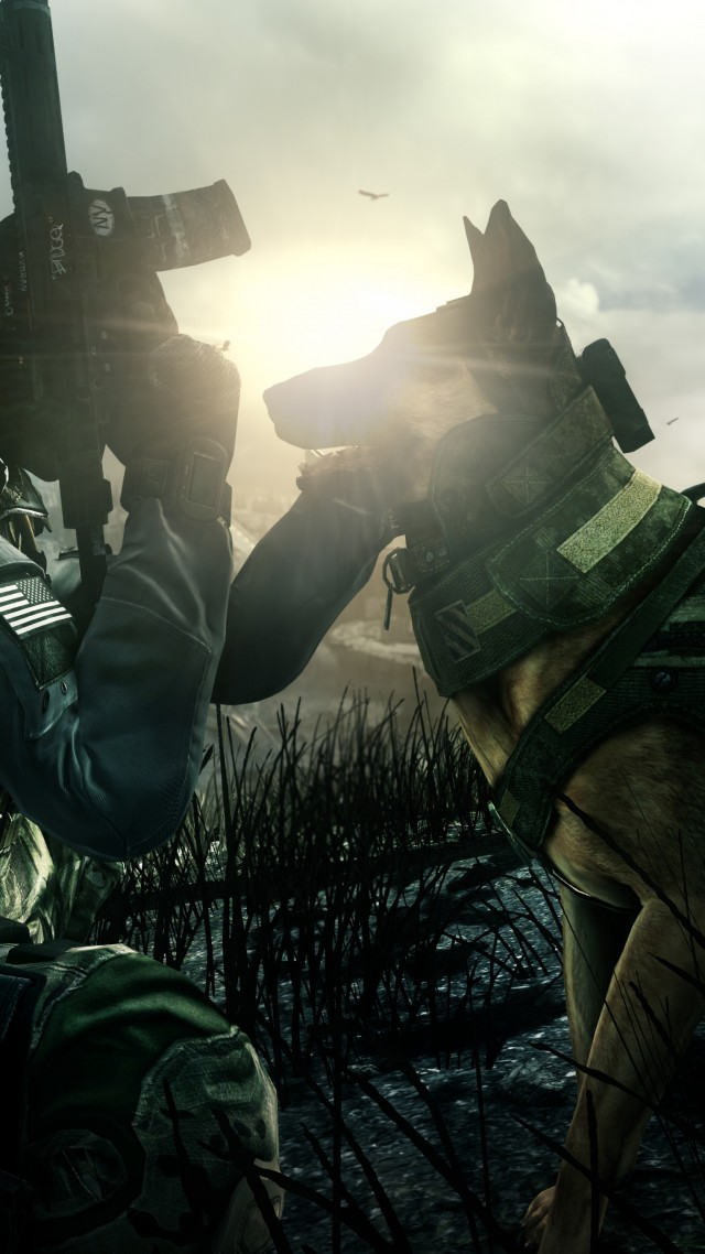 Wallpaper Call Of Duty Ghosts Game Shooter Soldier Dog Rifle CoD Ghosts Multiplayer