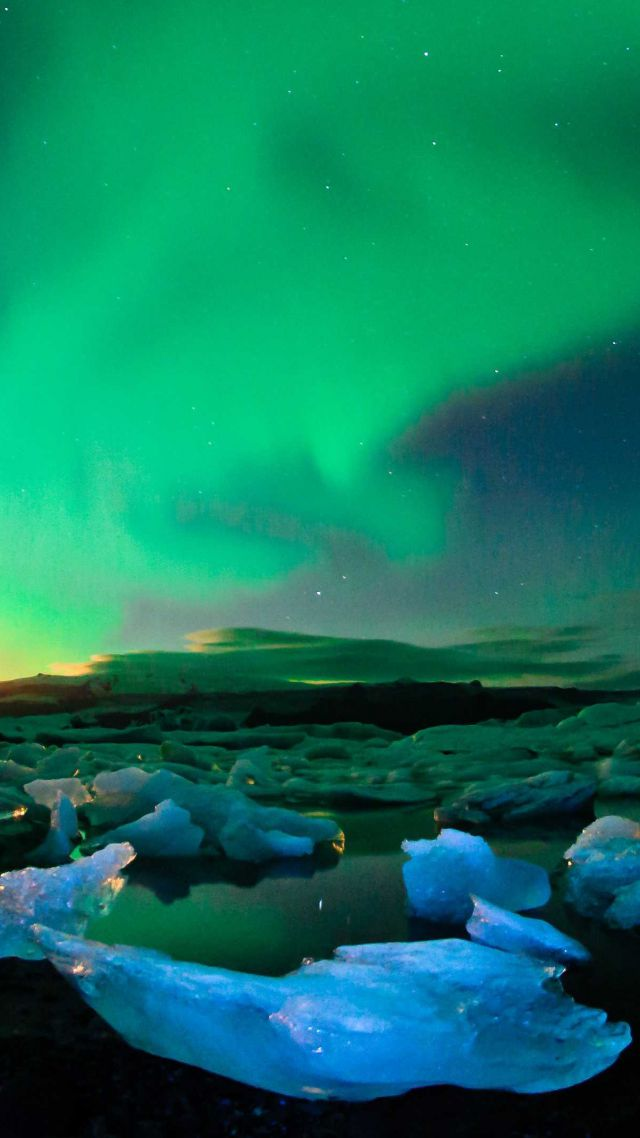 Jokulsarlon Iceland Northern Lights