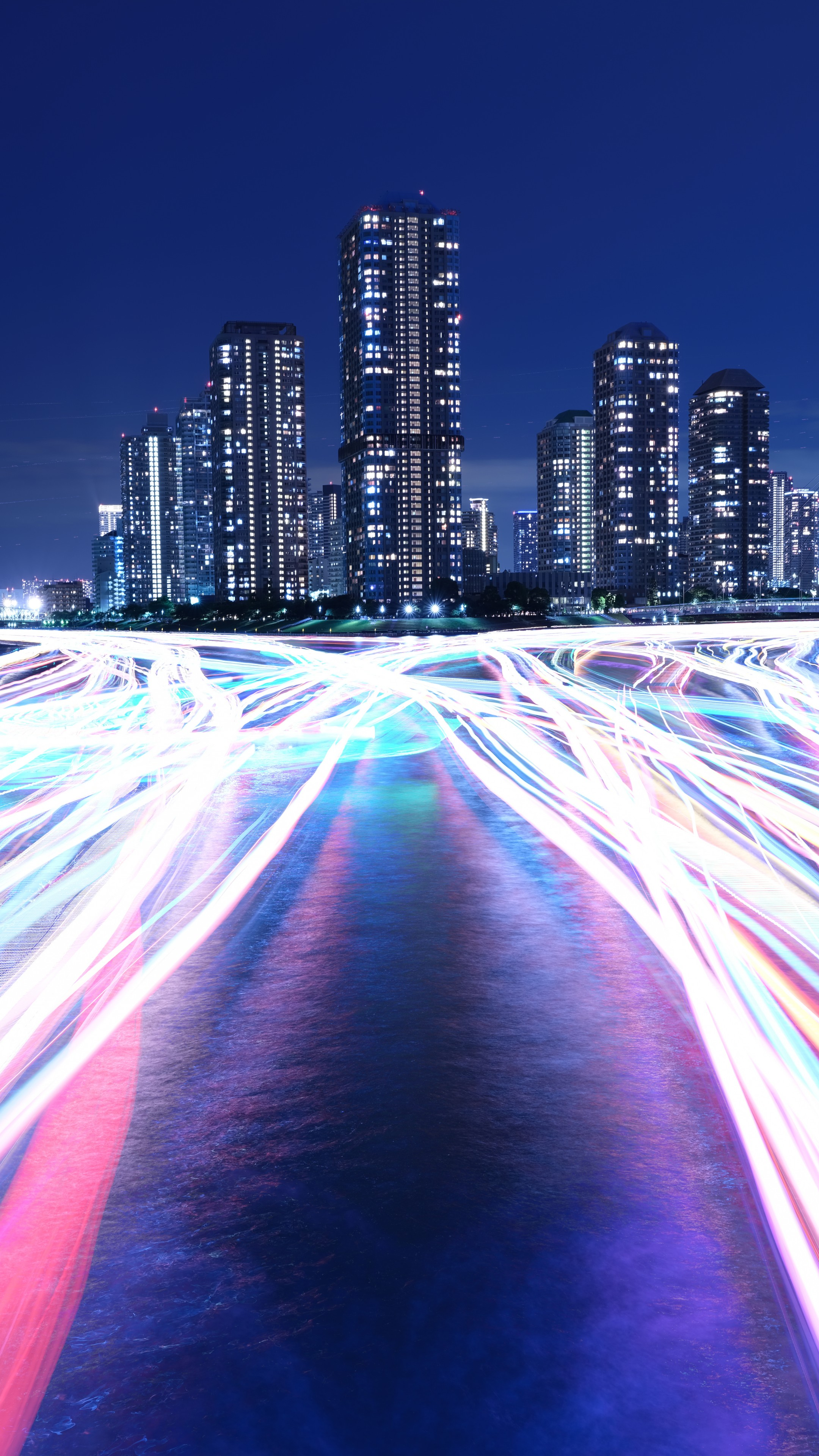 Wallpaper City Light Night River 4k 8k Architecture