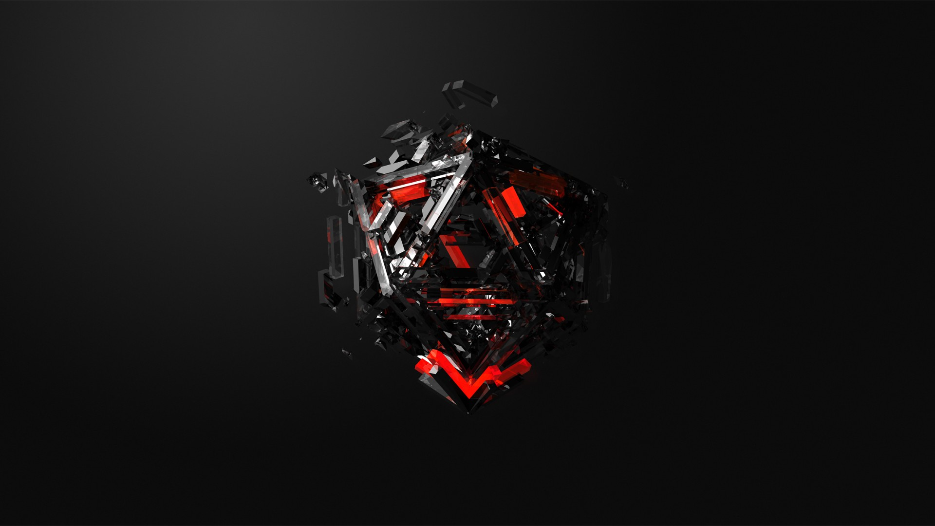 Wallpaper Triangles 3D Red Black HD Abstract 16371