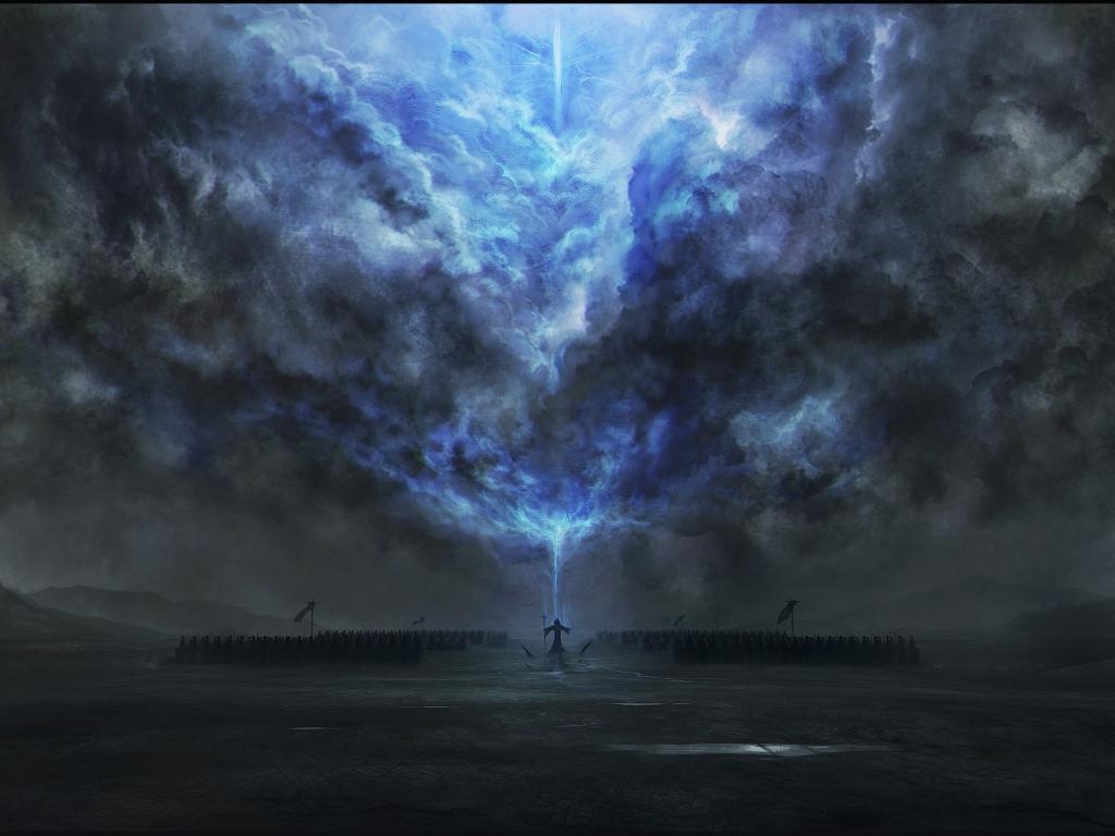 Desktop Wallpaper Dark Tower Magic Fantasy Clouds Art