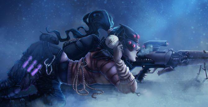 Desktop Wallpaper Widowmaker Overwatch Sniper Lying